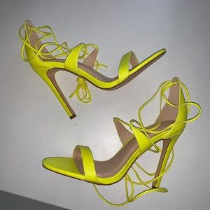 Neon Yellow Lace Up Strappy Heel